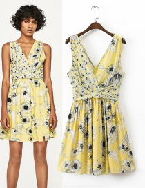 Fashion Yellow Flower Pattern Decorated V Neckline Simple Dress