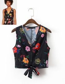 Trendy Multi-color Bowknot&flower Decorated V Neckline Blouse