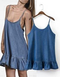 Trendy Blue Pure Color Decorated Simple Suspender Dress