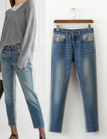 Trendy Blue Pure Color Decorated High Waist Jeans