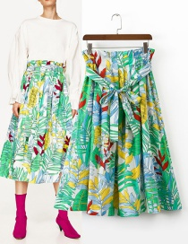 Trendy Multi-color Leaf Pattern Decorated Simple Skirt