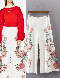 Trendy Multi-color Flower Pattern Decorated Ultra-wide-leg Trousers