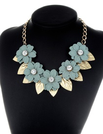 Fashion Green Leaf&flower Decorated Simple Necklace