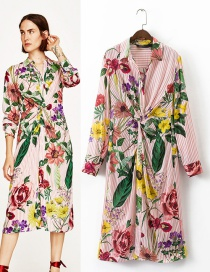 Bohemia Multi-color Flower Shape Decorated Long Shirt