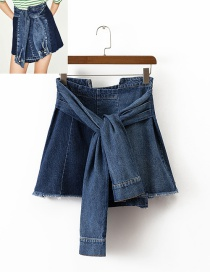 Fashion Blue Pure Color Decorated Mini-skirt