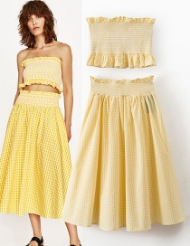 Fashion Yellow Pure Color Decorated Dress Suit