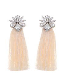Bohemia Beige Geometric Shape Diamond Decorated Tassel Earrings