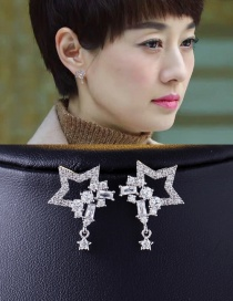 Elegant Silver Color Hollow Out Star Shape Decorated Earrings