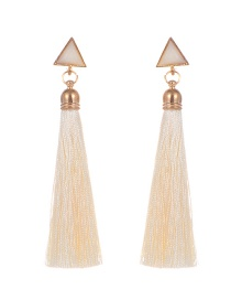 Bohemia Beige Triangle Shape Decorated Tassel Earrings