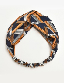 Fashion Navy+orange Color Matching Decorated Hair Band
