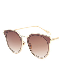 Fashion Champagne Wing Shape Decorated Sunglasses