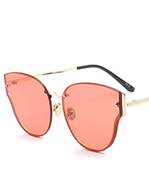 Fashion Red Wing Shape Decorated Pure Color Sunglasses