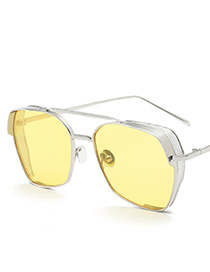 Vintage Yellow Metal Frame Decorated Sunglasses