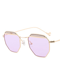 Vintage Purple Color-matching Decorated Sunglasses