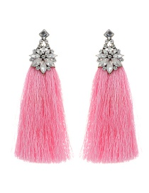 Bohemia Pink Flower Shape Decorated Tassel Earrings
