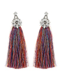 Bohemia Multi-color Flower Shape Decorated Tassel Earrings