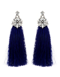 Bohemia Sapphire Blue Flower Shape Decorated Tassel Earrings