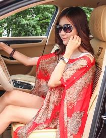 Fashion Red Cashew Nuts Pattern Decorated Shawl
