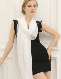Fashion White Pure Color Decorated Scarf