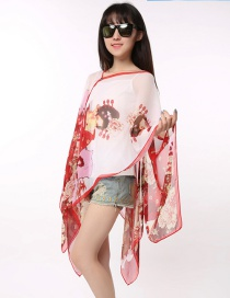 Fashion Red Figure Pattern Decorated Scarf