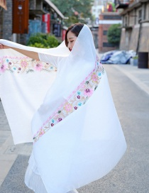 Fashion White Embroidery Flower Decorated Scarf