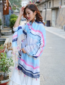 Fashion Red+blue+white Stripe Pattern Decorated Scarf