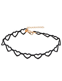 Fashion Black Heart Shape Decorated Choker