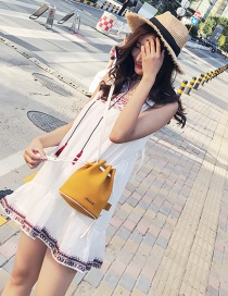 Fashion Yellow Pure Color Decorated Bucket Bag