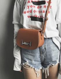 Vintage Brown Lock Decorated Shoulder Bag