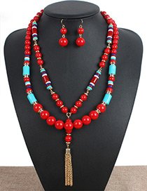 Fashion Red Tassel Decorated Double Layer Jewelry Set