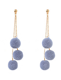 Fashion Gray Ball Shape Decorated Pom Earrings