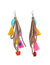 Fashion Brown Pom Ball&tassel Decorated Earrings