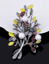 Fashion White Tree Shape Decorated Brooch