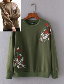 Fashion Army Green Flower Pattern Decorated Sweater