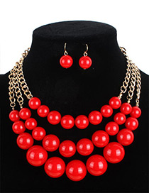 Bohemia Red Pure Color Decorated Multi-layer Jewelry Sets