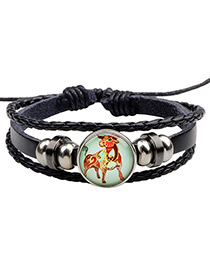 Fashion Black Taurus Pattern Decorated Multi-layer Bracelet