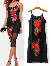 Fashion Black Flower Decorated Suspender Dress
