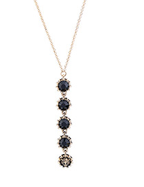 Elegant Black Tiger Head&diamond Decorated Necklace