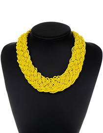 Fashion Yellow Pure Color Decorated Necklace
