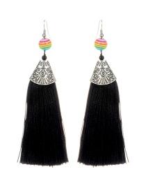 Fashion Black Ball&tassel Decorated Long Earrings