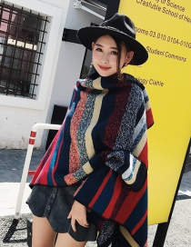 Fashion Red+blue Stripe Pattern Decorated Color Matching Shawl