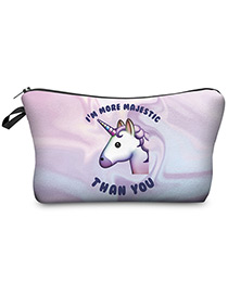 Lovely Light Purple Unicorn Pattern Decorated Cosmetic Bag