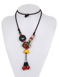 Fashion Multi-color Leaf&flower Decorated Color Matching Necklace