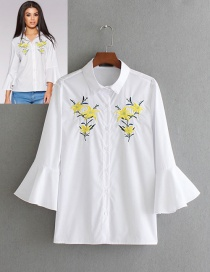 Fashion White Flare Sleeves Design Embroidery Shirt