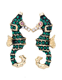 Vintage Green Hippocampus Shape Decorated Earrings