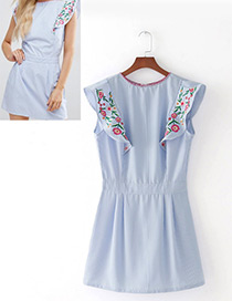 Fashion Blue+white Embroidery Flower Decorated Slim Dress