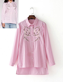 Fashion Pink Embroidery Flower Decorated Long Sleeves Shirt