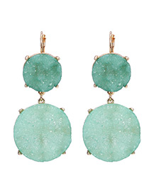 Fashion Green Round Shape Diamond Decorated Earrings