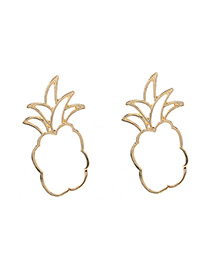 Fashion Gold Color Pineapple Shape Decorated Hollow Out Earrings