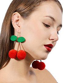 Fashion Red Cherry Shape Decorated Pom Earrings